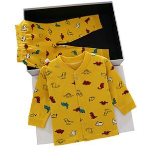 Crianças dos desenhos animados Pijamas Conjuntos 15 projeto listrado Menino da criança do dinossauro Pijamas crianças roupa ocasional meninas Coelho Camisola infantil Conjuntos 060227