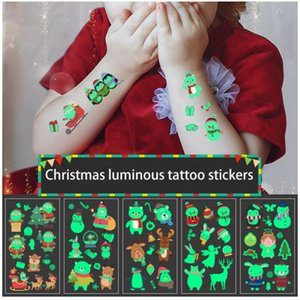 10pcs Christmas Tempory Tattoos for Kids Adults Christmas Carnival Party Luminous Glow in The Dark Temporary Tattoo Stickers