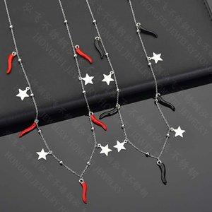Kadınlar Plajı Takı için Siyah Kırmızı renk Geometrik Yıldız Chili Pepper Paslanmaz çelik gerdanlık kolye Bildirimi Kolye