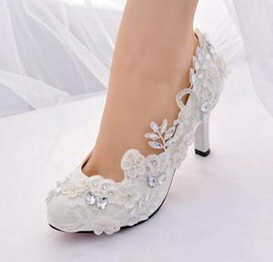 2020 Nuove Donne Floral Sexy Stiletti in pizzo Dress Shoes Shoes Beaded Lady Stilotto Tacchi alti Party Sedute Pompe da sera a punta Slip on Scarpe