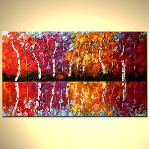 Ev Dekorasyon için Yatak Odası Renkli Güzel Yağlıboyalar için Tuval Ağacı Art El yapımı yağlıboya Wall Art Özet Ağacı Yağı