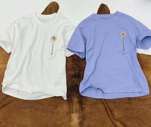 Мужчины женщины вышивка филиал Ромашка-принт JACQUEMUS футболка с коротким рукавом высокое качество темперамент одежда тройник размер S-L классический