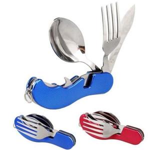 3 en 1 Cuchara plegable Tenedor Cuchillo Servicio de cena Campamento al aire libre Picnic Cubiertos Creativo Cubiertos de acero inoxidable