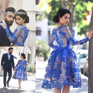 Vestidos de regreso al hogar de encaje azul real 2020 Cuello redondo transparente Mangas largas Vestidos de noche cortos de baile Vestidos de cóctel elegantes