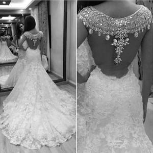 Rami Salamoun principessa sirena Abiti da sposa 2020 Floral sparkly di lusso in rilievo di cristallo posteriore piena del merletto Giardino Castello abito da sposa 456
