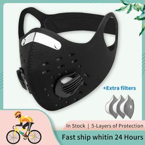 X-tigre de la máscara Pro Sport Filtro de carbón activado anticontaminación Máscara a prueba de polvo lavable mascarillas Antivira máscaras faciales Ciclismo