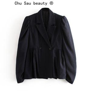 Chu Sau bellezza Classic Office Lady Blazer solido di colore Slim doppio petto bolla manica Giacca casual donna Blazer