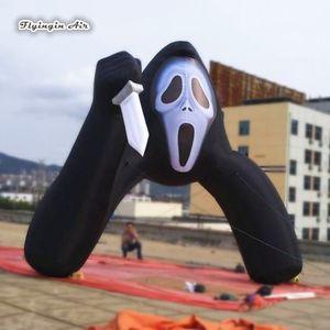 Personalizado Scary Halloween Inflatable Death Arch 5m Altura Blow Up Puerta de entrada Devil Archway con cuchillo para decoración al aire libre
