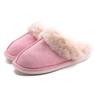 SWQZVT Plus size Winter Pantoffeln Frauen Innenboden Plüsch warme Frauenschuhe Pelz Dias Webpelz Haus Schwellen Schuhe Damen