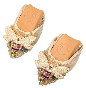 XGRAVITY Plus Size Designer Kristall Frau Flache Schuhe Elegante Komfortable Dame Mode Strass Frauen Weiche Bienen Schuhe A031-1