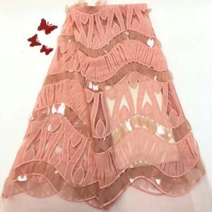 Paillettes roses Africain Dentelle Tissu Guipure Paillettes Coton Cordon Tulle Nigérian Tissu Mesh Inde Dentelle pour Robe De Mariée ff1221