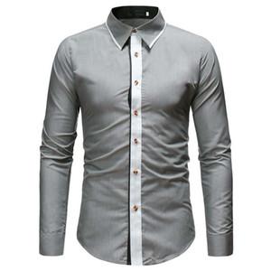 Young Boy Лоскутная рубашка Breaf Style отложным воротником Мужские топы с длинным рукавом 2019 Лето Новая мода Slim Blusa Korean Club Wear