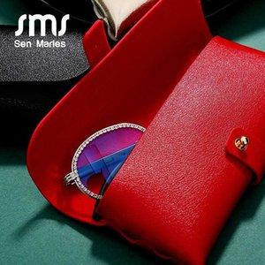 Sen Maries Sonnenbrille Frauen Ledertasche Rot-Schwarz-Tasche mit ovalem Crystal Clear-Glas-Rahmen Männern Brillen
