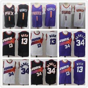 Mens PhoenixSunsThrowback Steve Nash 13 34 Charles Barkley Devin 1 Booker Deandre 22 Ayton Basket Short Maillots de basket-ball