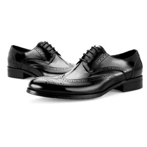 Men Business Dress Shoes Genuine Leather Italian Handmade Pointed Toe Brogues Zapatos Carved Wedding Footwear Men Plus Size 45