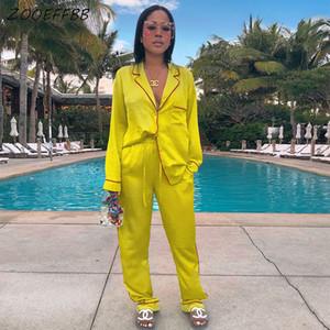 ZOOEFFBB desgaste del salón de satén de dos piezas de pijamas de las mujeres Trajes de manga larga superior y pantalones 2 correspondiente pieza lindo pijama conjunto T200629