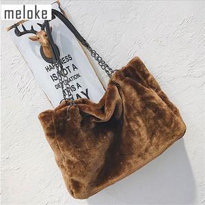 Meloke 2019 femmes chaud sacs à main de grande taille de fourrure sacs casual bracelet en métal sacs de voyage goutte d'hiver expédition MN868