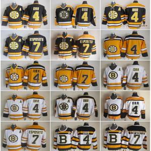 Boston Bruins Jersey Hombres 4 Bobby Orr 7 Phil Esposito CCM Hockey jerseys de la vendimia Inicio Negro Blanco 2010 Winter Classic cosido
