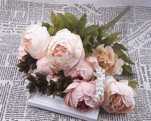 Hochzeit Hauptdekorationen Real Touch-Material Künstliche Blumen Pfingstrose Bouquet Zuhause-Party-Dekoration Gefälschte Seide einzige Stamm Blumen Blumen
