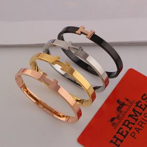 H harfi bilezik ile bayanlar kadınlar için bileklik 18 k rose gold kaplama marka titanium çelik bilezik