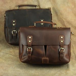 Vintage Men Genuine Cow Leather Travel Totes Duffel Bag Laptop Bags Business Shoulder Bags Cowhide Briefcases Zipper Messenger Bag