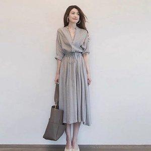2020 Vestido de camisa de la nueva moda de la moda para el verano Largo Cuello en V Vestido Temperamento Signatura Estilo de la elegancia discreta Individualidad ordinaria