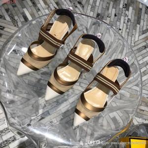 moda donna tacchi scarpe slingback pompe con Mesh Dot in tessuto tecnico nero con donne di alta Ribbon Classic Tacchi Sandali
