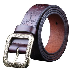Fashion Genuine leather belts for women Vintage floral belt female Quality second layer cow skin strap for jeans width 3.2 cm