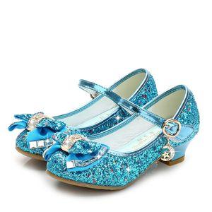Niñas Princesa Zapatos Sandalias Brillo Cuero de LA PU Zapatos de Baile Flamenco Banquete de Boda Vestir Zapatos Enfant meisjes schoenen PNS01