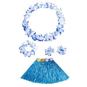 Kids Hawaiian Hula Grass Skirt Beach Dress Lei Flower Headband Girl Costume Set Festive And Party Supplies