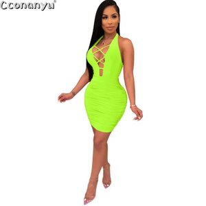 Womens donne Dress Halter maniche Bandage Backless Abiti nuovi arrivi estate aderente vestiti sexy Party Night Club