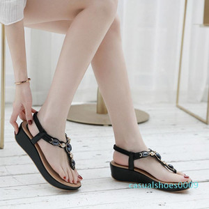 Bohemian Summer Shoes Sweet Womens Rhinestone Button type Wedge Flat Sandals High Quality Casual Flats Plus Size 35-42 Sandalias c09
