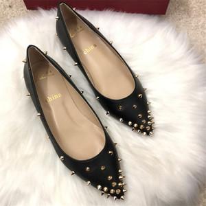 toe punto de brillo señora de las mujeres del oro de la vendimia el envío libre foto real Luxura manera del cuero genuino clava clavos zapatos de los planos novia de la boda