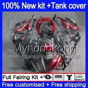 Cuerpo + tanque para Kawasaki ZX6R ZX636 2009 2010 2011 2012 206MY.35 ZX 6R 636 600CC ZX636 ZX600 ZX 6R ZX6R 09 10 11 12 carenados grises rojas