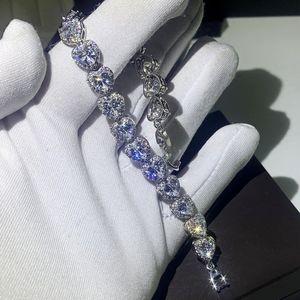 클래식 패션 쥬얼리 925 스털링 실버 배 컷 화이트 토파즈 시뮬레이션 된 다이아몬드 보석 심장 여성 결혼식 신부 팔찌 선물
