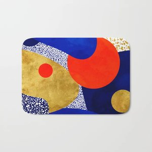 HOT Badteppiche Terrazzo Galaxy Blue Gold orange Badematte Flanell Absorbent nicht Beleg Fußmatte Haustür-Bad Zimmermatten