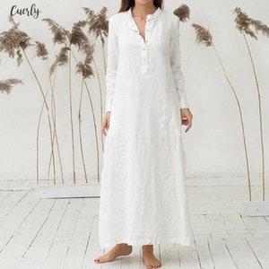 Womens Dress Kaftan Cotton Long Sleeve Plain Casaul Dress Oversized Maxi Long Shirt Dress Women Jul20 Designer Clothes
