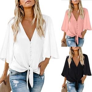 Camisa suelta de manga corta con volantes para mujer Blusa casual de verano para mujer