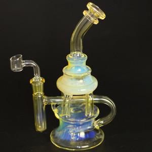 9inch Argent Fumed couleur Dab huile Rigs Heady verre Bongs avec 4MM Quartz Banger ongles recycleur huile barboteur Cyclone Perc verre pipe à eau