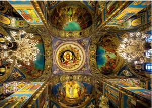 Engel Decke europäische Luxus klassisches dreidimensionales Dach der Decke Kunstwand 3D Wallpaper 3D-Tapeten für tv Hintergrund