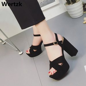 Wertzk High-heeled Sandals 2019 Summer Sandal Shoes Women Sexy Female Suede Platform Gladiator summer women roman Sandals E242 Y200702