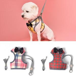 Köpekler Pet Koşum Yavru Pet Yelek Kurşun Tasma Köpek Kedi Koşum Tasması Ile Ilmek Ekose Ayarlanabilir Yelek Nefes Örgü Giysileri BH1542 TKQQ