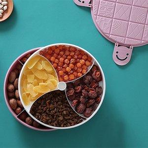 Household Sala Double-Layer Snack prato de frutas prato prato de sobremesa de frutas Snack simples placa redonda de armazenamento de alimentos Box Container