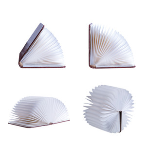 Criativa Livro Forma lâmpadas portáteis 3 Tamanho USB recarregável Sala Decor Madeira Folding Livro Luzes caçoa o presente Desk Lamp DH1064-3 T03