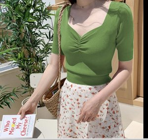 Women's T-shirt V-neck short fit slim ice silk 2020 Korean new style chicken heart collar T-shirt waist top