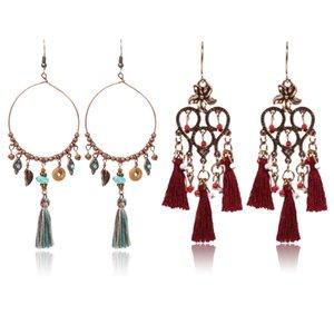 2pairs set Bohemia Drop Earrings Trendy Sector Earrings for Women Fashion Jewelry