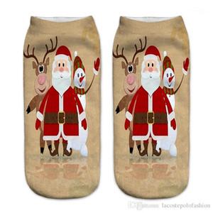 Terlik Donna Casual Çorap Merry Christmas Baskı Bayan Çorap Moda Noel Baba Milu Geyik Sock yazdır