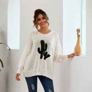 All'ingrosso-caldo delle donne girocollo maniche lunghe Cactus maglione casuale allentato maglione del pullover CGU 88
