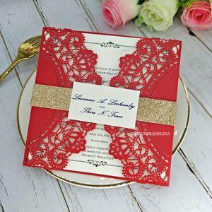 Китайские свадебные приглашения красный лазерный срезанных с Таг и блестками пояса Elegant Lace Floral Приглашения для девичника День рождения Выпускной