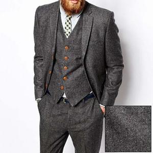 Grey Herringbone Tweed Men Suit Vintage Fall Winter Groom Prom Tuxedos Wedding Trajes para hombres Classic Business Male Blazer Jacket